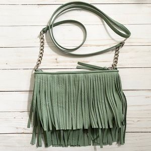 Women's Mint Green Fringe Crossbody Purse